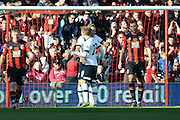 Tottenham Hotspur midfielder Christian Eriksen congratulates Tottenham Hotspur striker Harry Kane during the Barclays Premier League match between Bournemouth and Tottenham Hotspur at the Goldsands Stadium, Bournemouth, England on 25 October 2015. Photo by Mark Davies.