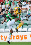 Yeovil - Tuesday, August 11th, 2009: Terrell Forbes of Yeovil and Grant Holt of Norwich City during the Carling Cup 1st Round match at Yeovil. (Pic by Alex Broadway/Focus Images)