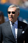 Los Angeles Rams owner Stan Kroenke looks on from the sideline as he visits the field before the 2018 NFL regular season week 2 football game against the Arizona Cardinals on Sunday, Sept. 16, 2018 in Los Angeles. The Rams won the game in a 34-0 shutout. (©Paul Anthony Spinelli)