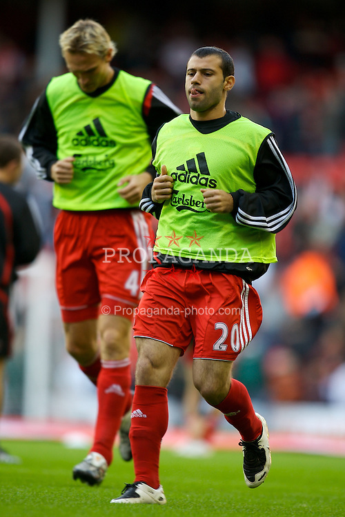 LIVERPOOL, ENGLAND - Sunday, October 28, 2007: Liverpool's Javier Mascherano warms-up before the Premiership match against Arsenal at Anfield. (Photo by David Rawcliffe/Propaganda)