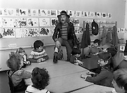 In preparation for the Central Remedial Clinic's charity 'Jogathon', television celebrity and poet Pat Ingoldsby visits children at the centre. The Jogathon would be led by eight major celebrities, including comedian Brendan Grace and rugby international Ciaran Fitzgerald.<br />