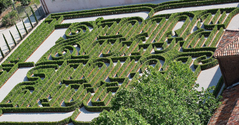 VENICE, ITALY - JUNE 16:  A general view from the top of the bell tower of The Borges Labyrinth at Fondazione Cini on June 16, 2011 in Venice, Italy. To mark the 25th anniversary of the death of celebrated Argentinian writer Jorge Luis Borges the Fundación Internacional Jorge Luis Borges and the Giorgio Cini Foundation created The Borges Labyrinth, a reconstruction of the maze that architect Randoll Coate designed in the writer's honour. The Giorgio Cini Foundation (Italian Fondazione Giorgio Cini), or just Cini Foundation, is a cultural foundation founded April 20, 1951 in memory of Count Giorgio Cini.