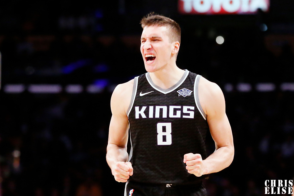 09 January 2018: Sacramento Kings guard Bogdan Bogdanovic (8) reacts during the LA Lakers 99-86 victory over the Sacramento Kings, at the Staples Center, Los Angeles, California, USA.