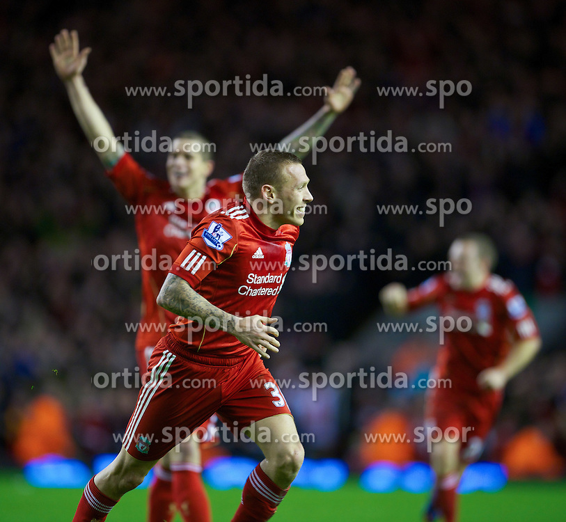 30.12.2011, Anfield Stadion, Liverpool, ENG, PL, FC Liverpool vs Newcastle United, 19. Spieltag, im Bild Liverpool's Craig Bellamy celebrates scoring against Newcastle United during the football match of English premier league, 19th round, between FC Liverpool and Newcastle United at Anfield Stadium, Liverpool, United Kingdom on 2011/12/30. EXPA Pictures © 2011, PhotoCredit: EXPA/ Propagandaphoto/ David Rawcliff..***** ATTENTION - OUT OF ENG, GBR, UK *****