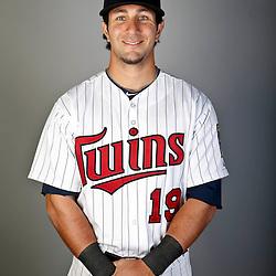 Feb 19, 2013; Fort Myers, FL, USA; Minnesota Twins center fielder Darin Mastroianni (19) poses for a portrait during photo day at Hammond Stadium. Mandatory Credit: Derick E. Hingle-USA TODAY Sports