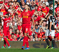 21.09.2013, Anfield, Liverpool, ENG, Premier League, FC Liverpool vs FC Southhampton, 5. Runde, im Bild Liverpool's captain Steven Gerrard looks dejected after missing a free kick against Southampton during the English Premier League 5th round match between Liverpool FC and Southampton FC at Anfield, Liverpool, Great Britain on 2013/09/21. EXPA Pictures &copy; 2013, PhotoCredit: EXPA/ Propagandaphoto/ Alan Seymour<br /> <br /> ***** ATTENTION - OUT OF ENG, GBR, UK *****