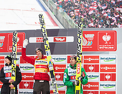 04.01.2013, Bergisel Schanze, Innsbruck, AUT, FIS Ski Sprung Weltcup, 61. Vierschanzentournee, Podium, im Bild zweiter Kamil Stoch (POL), Sieger Gregor Schlierenzauer (AUT), dritter Anders Bardal (NOR) // second Kamil Stoch of Poland, Winner Gregor Schlierenzauer of Austria and third Anders Bardal of Norway . during Podium of 61th Four Hills Tournament of FIS Ski Jumping World Cup at the Bergisel Schanze, Innsbruck, Austria on .2013/01/04. EXPA Pictures © 2012, PhotoCredit: EXPA/ Juergen Feichter