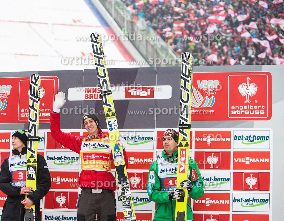 04.01.2013, Bergisel Schanze, Innsbruck, AUT, FIS Ski Sprung Weltcup, 61. Vierschanzentournee, Podium, im Bild zweiter Kamil Stoch (POL), Sieger Gregor Schlierenzauer (AUT), dritter Anders Bardal (NOR) // second Kamil Stoch of Poland, Winner Gregor Schlierenzauer of Austria and third Anders Bardal of Norway . during Podium of 61th Four Hills Tournament of FIS Ski Jumping World Cup at the Bergisel Schanze, Innsbruck, Austria on .2013/01/04. EXPA Pictures © 2012, PhotoCredit: EXPA/ Juergen Feichter