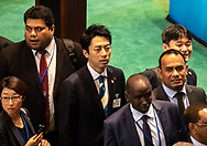 Shinjiro Koizumi, Japan's Minister of the Environment, before the start of the UN Climate Action Summit.