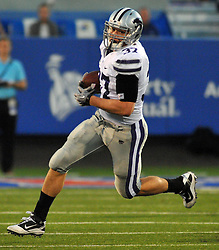 Oct 14, 2010; Lawrence, KS, USA; Kansas State Wildcats fullback Braden Wilson (37) catches a pass in the first half of the game against the Kansas Jayhawks at Memorial Stadium. The Jayhawks won 59-7. Mandatory Credit: Denny Medley-US PRESSWIRE