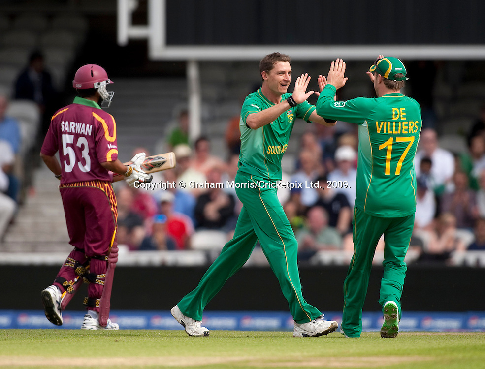 Bowler Dale Steyn celebrates taking the wicket of Ramnaresh Sarwan during the ICC World Twenty20 Cup match between South Africa and West Indies at the Oval. Photo © Graham Morris (Tel: +44(0)20 8969 4192 Email: sales@cricketpix.com)