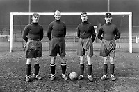 Birmingham City's Four International goalkeepers.1930/31. L to R. Harry Hibbs, K. C. Tewkesbury, Slater, Tremmelling. Credit: Colorsport.