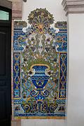 painted tiles of an ancient ceramic jug inside the Mercado da Ribeira, Cais do Sodre, Lisbon, Portugal
