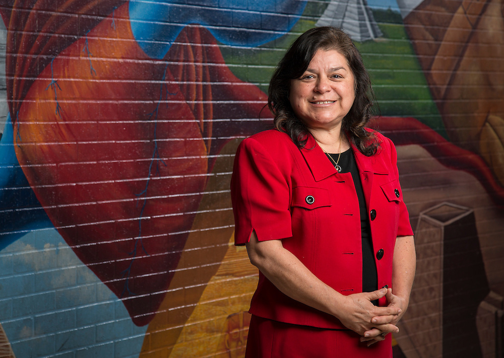 Cornelius Elementary School clerk Minerva Perez poses for a photograph, March 27, 2014. Perez was named Houston ISD Employee of the Month for September 2013.
