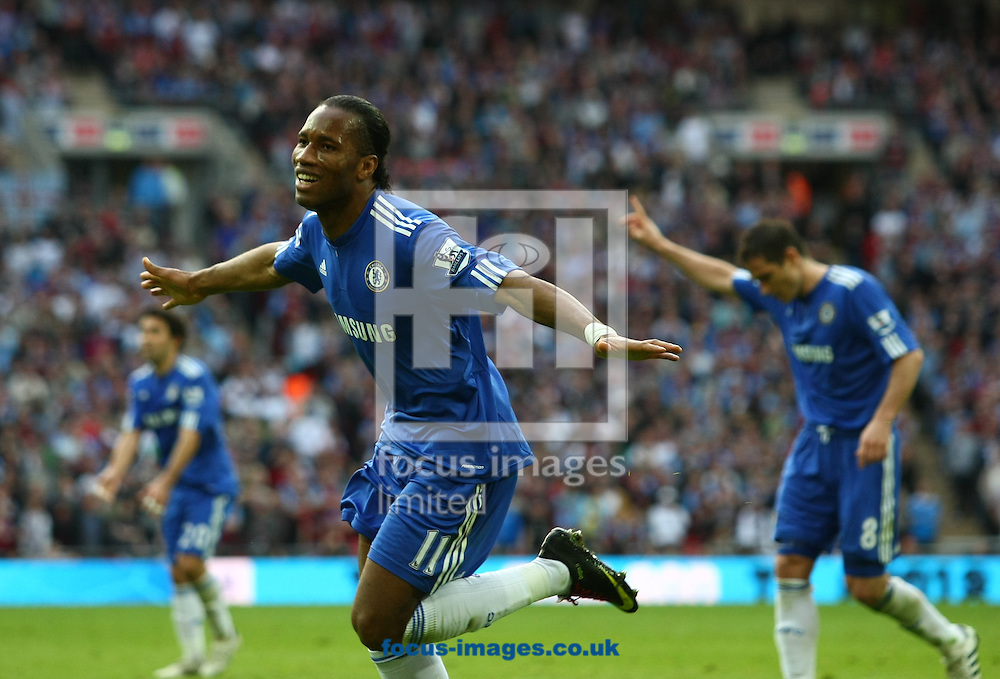 London - Saturday April 10, 2010: Didier Drogba (11) of Chelsea celebrates Chelsea's first goal during the FA Cup semi final match between Aston Villa and Chelsea at Wembley Stadium, London. (Pic by Andrew Tobin/Focus Images)