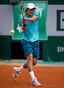 Lucas Pouille of France competes in men's singles while Day Fifth during The French Open 2013 at Roland Garros Tennis Club in Paris, France.<br /> <br /> France, Paris, May 30, 2013<br /> <br /> Picture also available in RAW (NEF) or TIFF format on special request.<br /> <br /> For editorial use only. Any commercial or promotional use requires permission.<br /> <br /> Mandatory credit:<br /> Photo by &copy; Adam Nurkiewicz / Mediasport