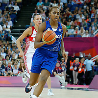 09 August 2012: France Sandrine Gruda brings the ball upcourt on the fastbreak during 81-64 Team France victory over Team Russia, during the women's basketball semi-finals, at the 02 Arena, in London, Great Britain.