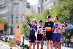 The celebrated riders on the podium: (L to R) Emilie Moberg, Coryn Rivera, Jolien D'hoore, Roxane Fournier at Madrid Challenge by la Vuelta 2017 - a 87 km road race on September 10, 2017, in Madrid, Spain. (Photo by Sean Robinson/Velofocus.com)