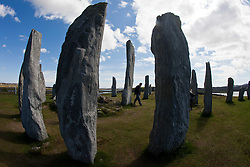 Callanish Stones, a cross-shaped setting of standing stones erected around 2000 BC, is one of the most spectacular megalithic monuments in Scotland. They are on the West Side of the Isle of Lewis, in the Outer Hebrides.©Michael Schofield..