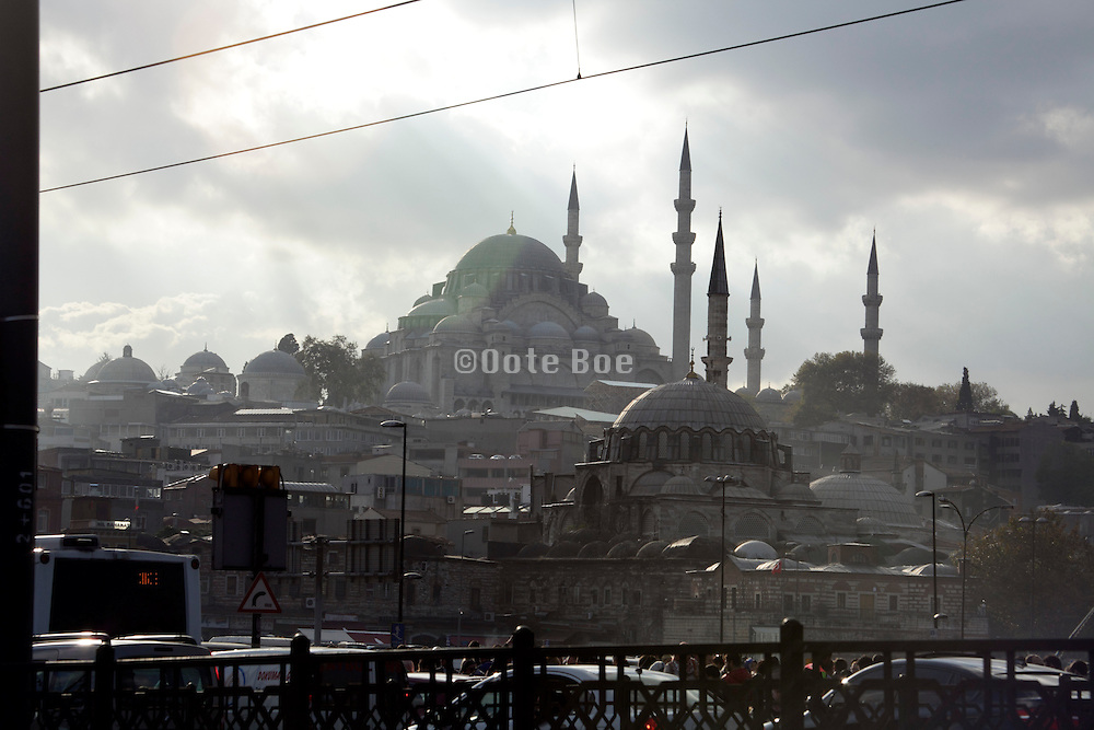 Rustem Pasa Camii seen from the Galata Brdige in Istanbul Turkey
