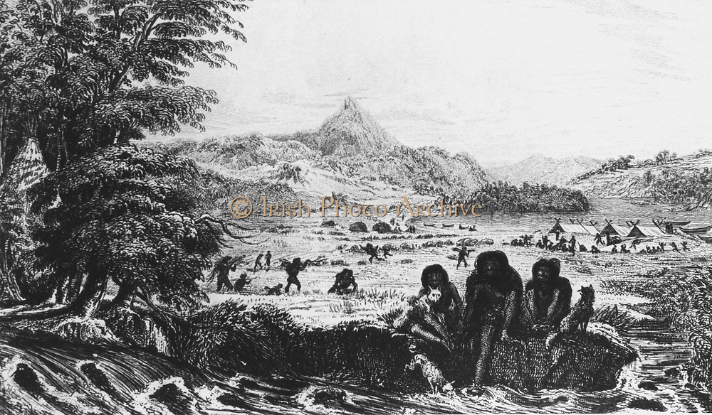 Fuegians at Woollya, with the expedition's camp in the background. From Robert Fitzroy 'Narrative of the Surveying Voyages of His Majesty's Ships Adventure and Beagle', Vol. II, London, 1839. Fitzroy was captain of the Beagle on the circumnavigation of 1831 when Charles Darwin was naturalist on the expedition.