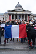 Gathering in Trafalgar square to mourn the 17 people killed - 12 of which during the attack against Charlie Hebdo offices - in January 2015.