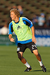 July 20, 2011; Santa Clara, CA, USA;  San Jose Earthquakes forward Steven Lenhart (24) warms up before the game against the Vancouver Whitecaps at Buck Shaw Stadium. San Jose tied Vancouver 2-2.