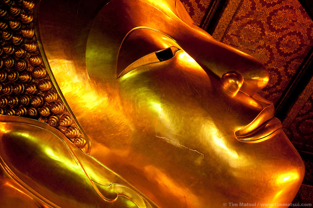 The giant reclining Buddha at Wat Pho. It is 46 meters long and 15 meters tall.