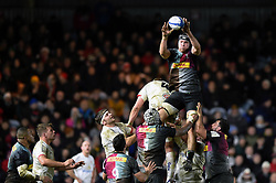 Stephan Lewies of Harlequins wins the ball at a lineout - Mandatory byline: Patrick Khachfe/JMP - 07966 386802 - 13/12/2019 - RUGBY UNION - The Twickenham Stoop - London, England - Harlequins v Ulster Rugby - Heineken Champions Cup
