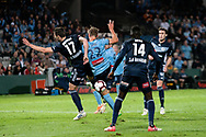 SYDNEY, AUSTRALIA - MAY 12: Sydney FC midfielder Siem de Jong (22) and Melbourne Victory defender James Donachie (17) fight for the ball at the Elimination Final of the Hyundai A-League Final Series soccer between Sydney FC and Melbourne Victory on May 12, 2019 at Netstrata Jubilee Stadium in Sydney, Australia. (Photo by Speed Media/Icon Sportswire)