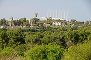 Poleg River Nature Reserve - Yakum Park, Near Natanya, Israel. The  Wingate Institute in the background