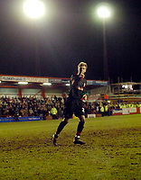 Photo: Leigh Quinnell.<br /> Tamworth v Stoke City. The FA Cup. 17/01/2006. Stokes Paul Gallagher scores his penalty for Stoke and keeps the Tamworth crowd quiet.