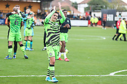 Forest Green Rovers Jack Aitchison(29), on loan from Celtic applauds the fans at the end of the match during the EFL Sky Bet League 2 match between Cambridge United and Forest Green Rovers at the Cambs Glass Stadium, Cambridge, England on 7 September 2019.