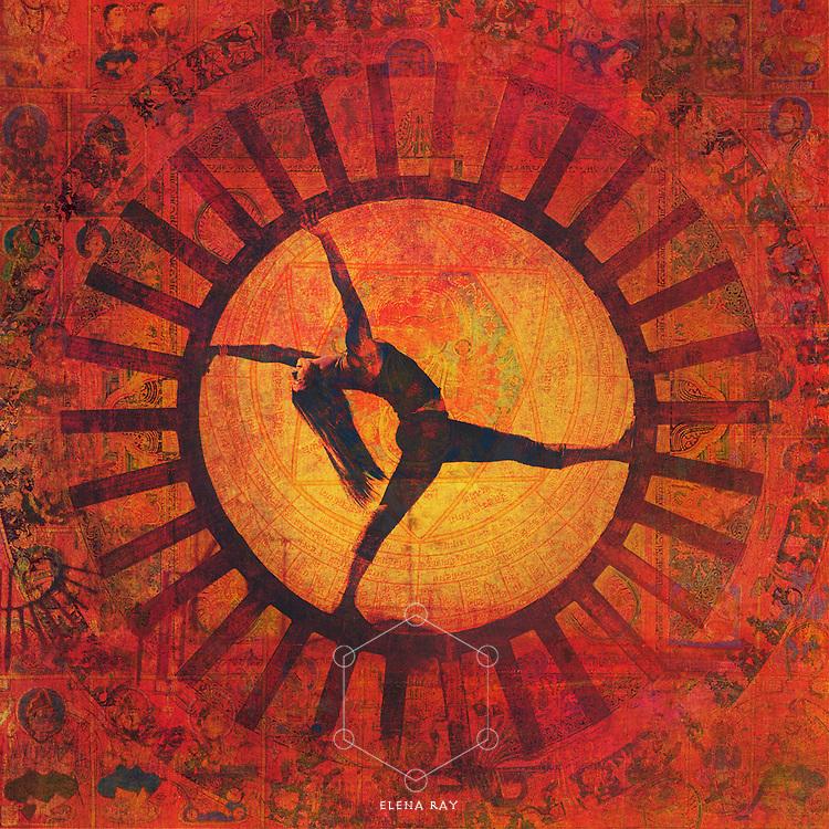 Yogin in solar salute, also known in Sanskrit as surya namaskar.
