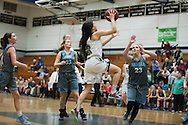 Burlington's Hien Thach (3) leaps for a lay up during the girls basketball game between the South Burlington Rebels and the Burlington Sea Horses at Burlington High School on Tuesday night Febraury 2, 2016 in Burlington. (BRIAN JENKINS/for the FREE PRESS)