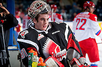 KELOWNA, CANADA - NOVEMBER 9: Zach Sawchenko #31 of Team WHL stands at the bench against the Team Russia on November 9, 2015 during game 1 of the Canada Russia Super Series at Prospera Place in Kelowna, British Columbia, Canada.  (Photo by Marissa Baecker/Western Hockey League)  *** Local Caption *** Zach Sawchenko;