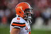 Cleveland Browns quarterback Baker Mayfield (6) warms up before an NFL football game, Monday against the San Francisco 49ers, Oct. 7, 2019, in Santa Clara, Calif. The 49ers defeated the Browns (Peter Klein/Image of Sport)