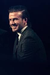 © Licensed to London News Pictures . 10/12/2013 . Manchester , UK . DAVID BECKHAM inside the National Football Museum this evening (10th December 2013) during a Q&A . Photo credit : Joel Goodman/LNP