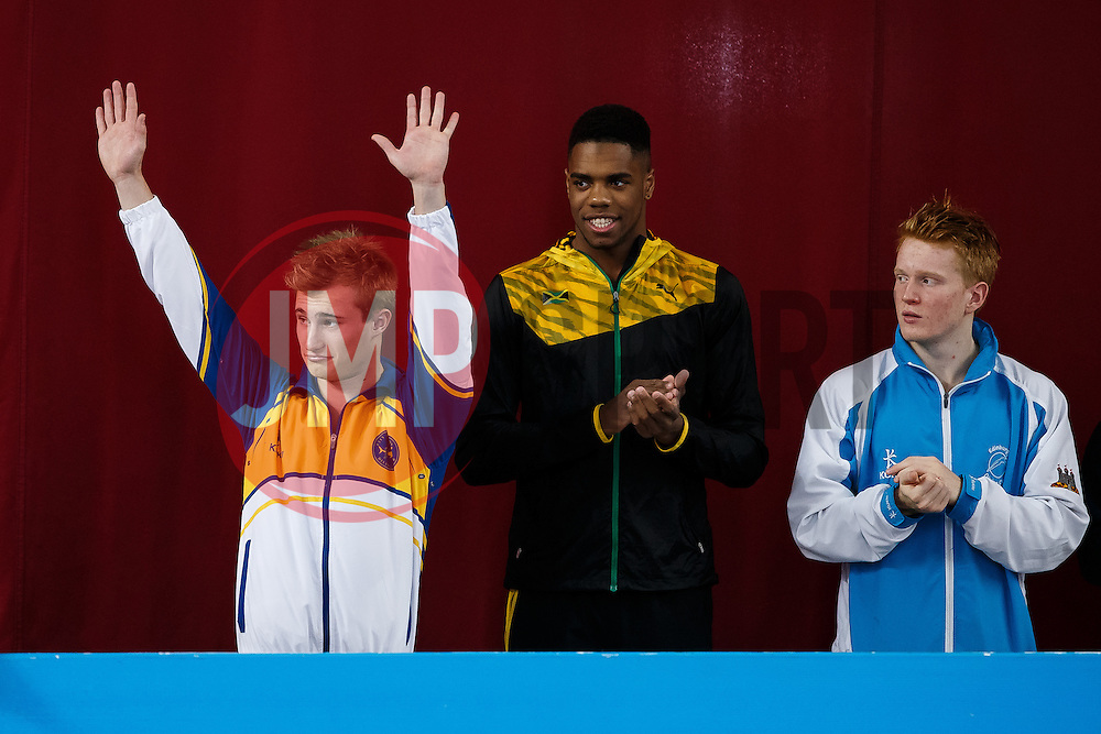 Jack Laugher of City of Leeds Diving Club is introduced ahead of the Mens 3m Springboard Final - Photo mandatory by-line: Rogan Thomson/JMP - 07966 386802 - 21/02/2015 - SPORT - DIVING - Plymouth Life Centre, England - Day 2 - British Gas Diving Championships 2015.