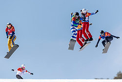 PYEONGCHANG, SOUTH KOREA - FEBRUARY 16:  Michela Moioli #2 of Italy, Julia Pereira de Sousa Marileau #15 of France, Chloe Trespeuch #6 of the United States, Eva Samkova #1 of the Czech Republic, Lindsey Jacobellis #4 of the United States during the Ladies' Snowboard Cross on day seven of the PyeongChang 2018 Winter Olympic Games at Phoenix Snow Park on February 16, 2018 in Pyeongchang-gun, South Korea. Photo by Ronald Hoogendoorn / Sportida