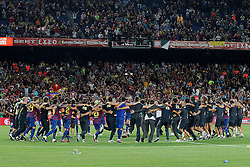 17.08.2011, Camp Nou, Barcelona, ESP, Supercup 2011, FC Barcelona vs Real Madrid, im Bild FC Barcelona's team celebrates the victory during Spanish Supercup 2nd match dacing the Catalonia tipical dance La Sardana.August 17,2011. EXPA Pictures © 2011, PhotoCredit: EXPA/ Alterphotos/ Acero +++++ ATTENTION - OUT OF SPAIN / ESP +++++