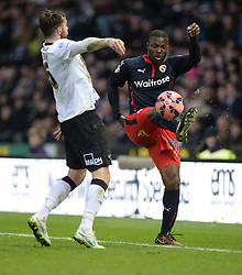Reading's Yakubu Aiyegbeni keeps the ball in play. - Photo mandatory by-line: Alex James/JMP - Mobile: 07966 386802 - 14/02/2015 - SPORT - Football - Derby  - ipro stadium - Derby County v Reading - FA Cup - Fifth Round