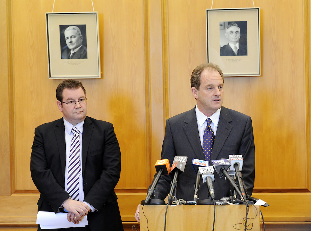 Labour Party Leader David Shearer, right, with his deputy Grant Robertson announce their shadow cabinet of the new opposition at Parliament, Wellington, New Zealand, Monday, December 19, 2011. Credit:SNPA / Ross Setford