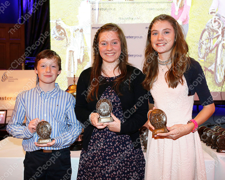 18/08/2013<br /> Alex and Lauren McConway, Quin pictured with Emily Cahill, Inch Kilmaley Connolly at Community Games All Stars Awards Ceremony which took place at the West County Hotel Ennis. <br /> Picture: Don Moloney / Press 22