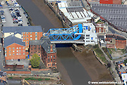 aerial photograph of  the New North Bascule Bridge  in Kingston upon Hull England UK
