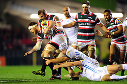 Brendon O'Connor of Leicester Tigers takes on the Exeter Chiefs defence - Mandatory byline: Patrick Khachfe/JMP - 07966 386802 - 03/03/2017 - RUGBY UNION - Welford Road - Leicester, England - Leicester Tigers v Exeter Chiefs - Aviva Premiership.