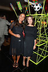 Left to right, BEATRICE GUAZZI and RACHEL SPRATLEY at a dinner at The Bulgari Hotel, 171 Knightsbridge to celebrate The London Design Festival on 13th September 2016.
