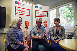 Pictured: <br /> Alison Johnstone, health spokeswoman for the Scottish Greens, was joined by party co-conveners Patrick Harvie and Maggie Chapman as she spoke to nurses about pay at the Royal College of Nursing in Edinburgh. The talks came ahead of the party's conference in Edinburgh at the weekend.<br /> <br /> Ger Harley | EEm 20 October 2017