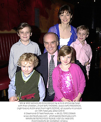 MR & MRS NICHOLAS COLERIDGE he is m/d of Conde Nast with their children, (Front left) THOMAS, (back left) FREDERICK, (right back) ALEX and (front right) SOPHIE, at a party in London on 18th February 2002.	OXR 8