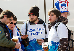 Fans of Matic Skube of Slovenia during the Men's Slalom - Pokal Vitranc 2012 of FIS Alpine Ski World Cup 2011/2012, on March 11, 2012 in Vitranc, Kranjska Gora, Slovenia.  (Photo By Vid Ponikvar / Sportida.com)